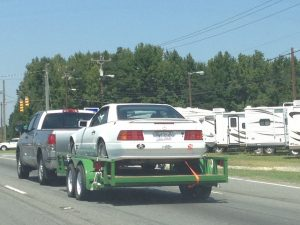 Potential truck accident case - pick up pulling a heavy load